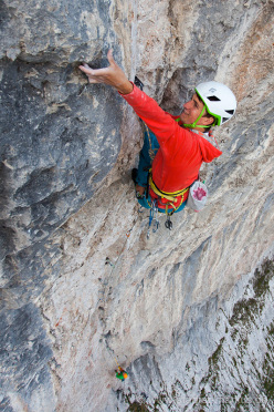 Roland Hemetzberger during the first free ascent of the Scheffler - Siegert route on, Wilder Kaiser, Austria 09/2013