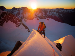 Benjamin Letham at dawn on Mt. Tasman in New Zealand