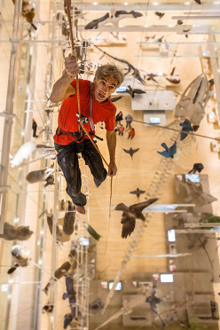 Maurizio Manolo Zanolla climbing at MUSE, the Science Museum at Trento