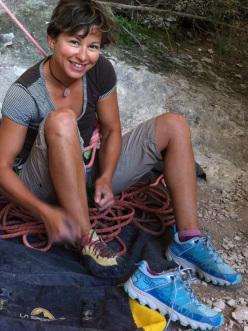 Belgian rock climber Muriel Sarkany