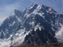 The line of ascent taken by Raphael Slawinski and Ian Welsted during the first ascent of K6 (7040m), Charakusa Valley, Karakorum, 07/2013
