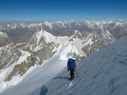 Raphael Slawinski and Ian Welsted during the first ascent of K6 (7040m), Charakusa Valley, Karakorum, 07/2013