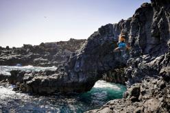 Austrian boulderer Jörg Guntram bouldering at Tenerife