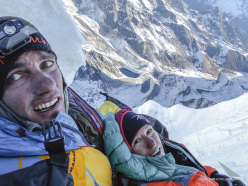 Ines Papert and Thomas Senf making the first ascent of Likhu Chuli I, Nepal