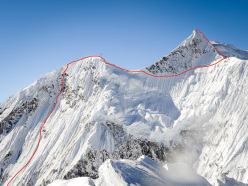 The route line chosen by Ines Papert and Thomas Senf during the first ascent of Likhu Chuli I, Nepal