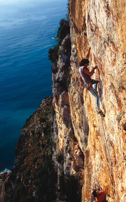 Climbing in the 1980's, Andrea Di Bari on Superalcolica at Tempio
