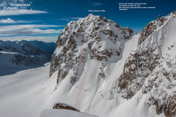 The line of Double Trouble (TD-, AI4, 800m) up the NE Face of the Great Walls of China in Kyrgyzstan climbed by Bas Visscher, Vincent Perrin and Bas van der Smeede on 16/08/2013.