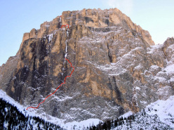The route line of Ghost Dog, Pordoi, Dolomites, climbed by Corrado Pesce and Jeff Mercier, December 2013