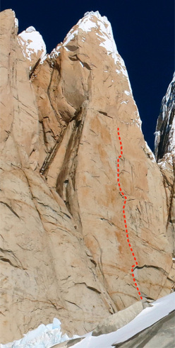 The route of Ermanno Salvaterra, Tomas Franchini, Paolo Grisa and Francesco Salvaterra up the centre of the West Face of Torre Egger in Patagonia, November 2013.