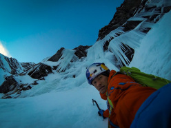 David Lama on 8/12/2013 during the first ascent, solo, of Nordverschneidung, Hohe Kirche, Valsertal, Austria