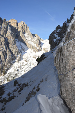 Canale Sant Anna, Pale di San Martino: the exposed traverse