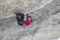 Angelika Rainer climbing Steel Koan M13+ at the Cineplex Cave in Canada