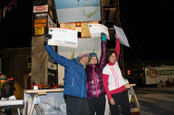 Canada's Sarah Huenkien, Angelika Rainer from Italy and Stephanie Maureau from France at the Bozeman Ice Climbing Festival 2013.