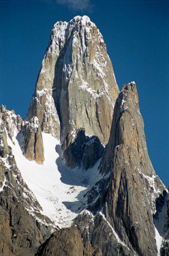 Uli Biaho Tower (6109m), Karakorum, Pakistan. The first ascent of this splendid peak was carried out in 1979 by American alpinists Bill Forest, Ron Kauk, John Roskelley and Kim Schmitz who climbed the East Face.