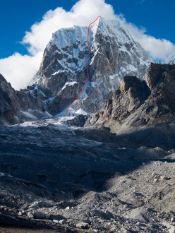 Lunag West (6507m) with Open Fire (V WI5 M3 1000m, Scott Adamson, Christopher Wright 10/2013)