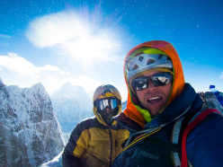Chris Wright and Scott Adamson on the summit of Pangbuk North, 10/2013