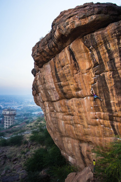 Paige Claassen repeating Ganesh 8b+, the hardest sports climb in India