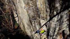 James Pearson making a ground-up repeat of Is not always Pasqua, the E9 trad freed in 2002 by Mauro Calibani at Collina di Interprete, Italy