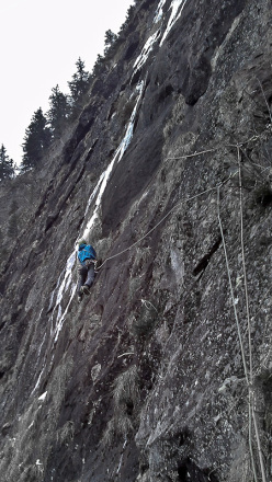 Hansjörg Auer and Karl Dung on 19/12/2013 making the first ascent of a new ice and mixed route above Habichen