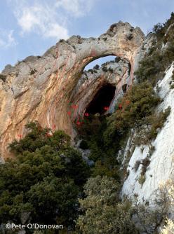 Climbing at Abella de la Conca, Catalonia, Spain
