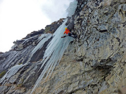 Enrico Bonino making the first ascent of Saltinbanco