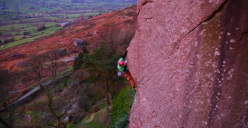 Screenshot taken from BMC TV of Pete Whittaker making the first ascent of Headless Horseman Arête at the Roaches, England,