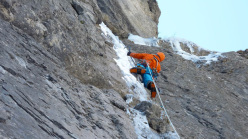 Robert Jasper and Wolfram Liebich during the first ascent of The Black Death (WI7/M8, E5, 250m) at Kandersteg, Switzerland.