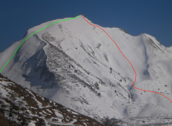Ski mountaineering in the Apuan Alps: Monte Sagro, the classic West Face (red) and the steeper NW Face (green)