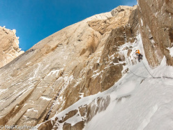 Mikey Schaefer leading the second pitch of Super Domo (V 600m WI5 M6, Mikey Schaefer, Joel Kauffman, Neil Kauffman 02/01/2014)