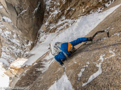 Mikey Schaefer climbing the first mixed section on Super Domo (V 600m WI5 M6, Mikey Schaefer, Joel Kauffman, Neil Kauffman 02/01/2014)