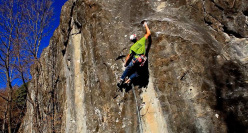James Pearson making a ground-up repeat of Is not always Pasqua, the E9 trad freed in 2002 by Mauro Calibani at Collina di Interprete, Monti Sibillini, Italy
