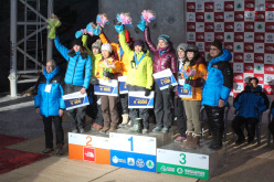 Women's podium: 1. Maria Tolokonina 2. Shin WoonSeon 3.Angelika Rainer