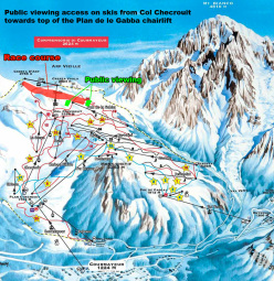 The race course of the Freeride World Tour at Courmayeur: the athletes descend from Cresta d'Arp towards Youla and finish at Plan de la Gabba.