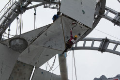 Angelika Rainer competing at Busteni (Romania) during the second stage of the  Ice climbing World Cup 2014