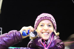 Angelika Rainer with her silver medal won at Busteni (Romania) during the second stage of the Ice climbing World Cup 2014
