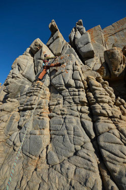 Maurizio Oviglia on the first ascent of