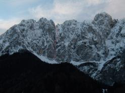 Merà Dimel (650m, AI 4 M6, Yuri Parimbelli, Tito Arosio, Ennio Spiranelli 13/01/2014), Anticima delle Quattro Matte, Presolana.