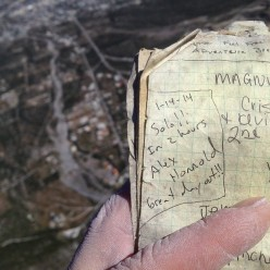 The summit log book, signed by Alex Honnold after his solo ascent of El Sendero Luminoso (7b+/c, 500m) El Toro, Potrero Chico, Mexico.