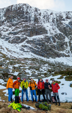 Guy Robertson, Nick Bullock, Greg Boswell, Will Sim, Uisdean Hawthorn, Iain Small and Callum Johnson after climbing on Creag and Dubh Loch, Scotland