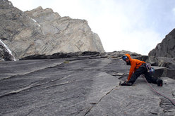 Martin Riegler climbing up perfect granite.