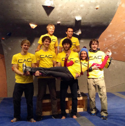Jan Hojer, Nalle Hukkataival, Sean McColl, Alexander Megos, Dmitry Sharafutdinov, James Webb and Melissa Le Nevé at the La Sportiva Legends Only 2013.