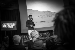 Nicolas Hale-Woods introduces the Swatch Freeride World Tour by The North Face 2014 during the first stage at Courmayeur Mont Blanc