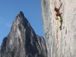 Maurizio Giordani in arrampicata a Potrero Chico, Messico