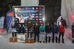 The men's podium of the fourth stage of the Ice Climbing World Cup 2014 at Champagny en Vanoise. From left to right: HeeYong Park, Nikolay Kuzovlev, Maxim Tomilov, Alexey Tomilov, Radomir Proshchenko, Janez Svoljšak, Valentyn Sypavin and Yevgen Kryvosheytsev