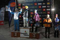 The women's podium of the fourth stage of the Ice Climbing World Cup 2014 at Champagny en Vanoise. From left to right: Maryam Filippova, Maria Tolokonina, Angelika Rainer, HanNaRai Song and Petra Klingler