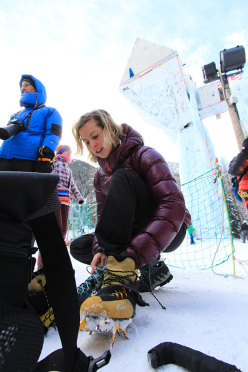 Angelika Rainer at the fourth stage of the Ice Climbing World Cup 2014 at Champagny en Vanoise