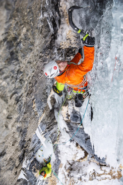 Albert Leichtfried during the first ascent of Zweite Geige (WI7/M7, 140m) in Vallunga, Dolomites.