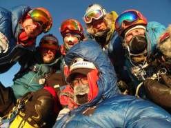 Andy Kirkpatrick, Kjersti Eide, Espen Fadnes, Aleksander Gamme, Ingeborg Jakobsen and Jonas Langseth on the summit of Ulvetanna on 03/02/2014 after having made the first ascent of the South Ridge.