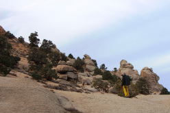 Bouldering at Bishop, USA: heading to Painted Cave, us and the mule deer