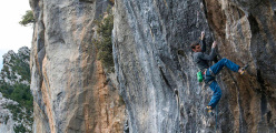 Silvio Reffo attempting Escalatamaster 9a at Perles, Spain